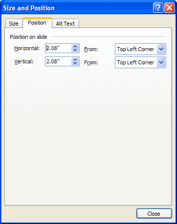Click the Position tab to move the object and change settings as necessary.
