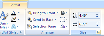 Select the object. Click the Format tab under Drawing Tools. Click the Size Dialog Box Launcher.