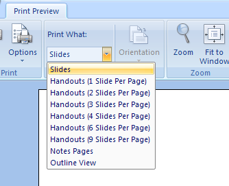 Click the Print what list arrow on the Print Preview tab, and then click an option.