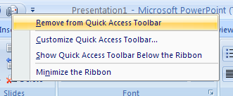 Remove a button or group from the Quick Access Toolbar