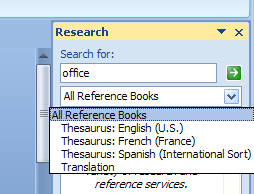 Click the list arrow, and then select a reference source, or click All Reference Books.