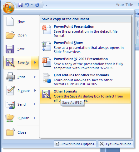 save a presentation for powerpoint 97 2003 or other format