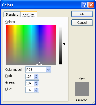 Click the Custom tab. Click the Color Mode list arrow, and then click RGB or HSL.