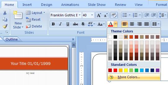 Select Custom Colors