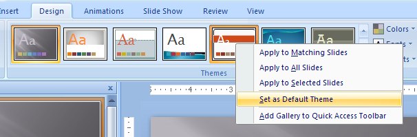 Right-click the theme from the gallery, and then click the Set as Default Theme.
