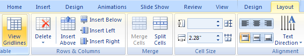 Show or hide gridlines in a table