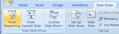 start a slide show and display the slide show toolbar slide show