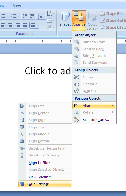Click the Home tab. Click the Arrange button, point to Align, and then click Grid Settings.