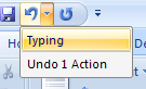 To undo multiple actions, click the Undo button arrow to view a list of the most recent changes, and then click the actions.