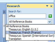 Click the All Reference Books list arrow, and then English Assistant (PRC) or English Assistant (Japan).