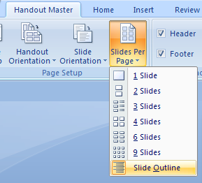 Or Click Show Slide Outline to show the slide outline, click the Slides-per-page button.