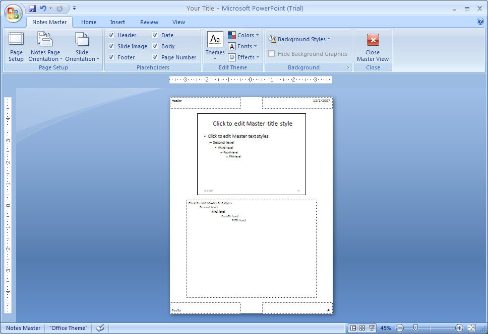 ... Notes Master « Slides « Microsoft Office PowerPoint 2007 Tutorial