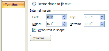 Click the Internal margin up and down arrows to change the left, right, top, and bottom slides of the shape.