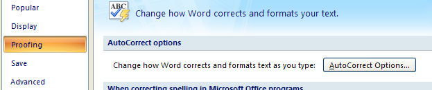 how to turn on autocorrect in word 2007
