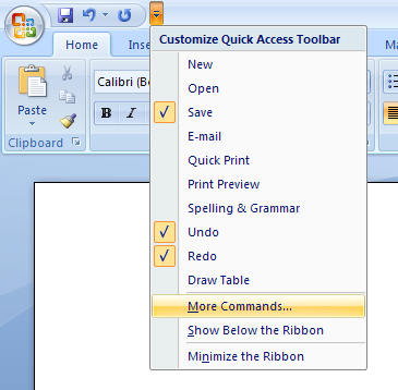 Add Commands Not in the Ribbon to the Quick Access Toolbar