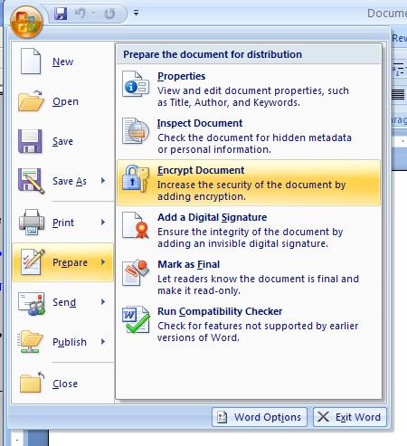 Then click Encrypt Document.