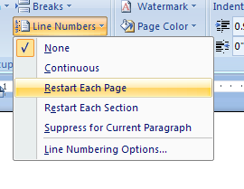 Then click Continuous, Restart Each Page, Restart Each Section, Suppress for Current Paragraph, or Line Numbering Options.