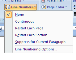 Then click the Line Numbers button
