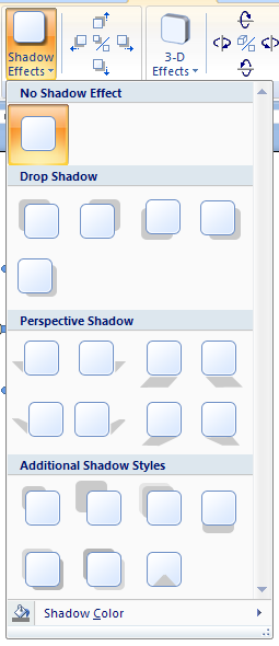 Then click the Shadow Effects