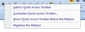 Add a Ribbon button or group from the Quick Access Toolbar
