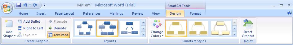 Click the Design tab under SmartArt Tools.