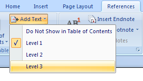 Adding text to a table of contents Table of Content