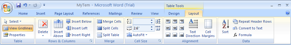 Then click the Layout tab under Table Tools.