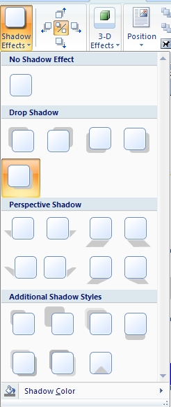 To add a shadow, click the Shadow Effects