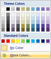 Click More Colors to select a standard or custom color