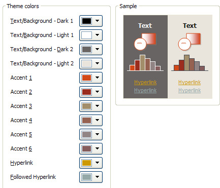 Click the Theme Colors button arrows (Text/Background, Accent, or Hyperlink, etc.) for the colors you want to change.