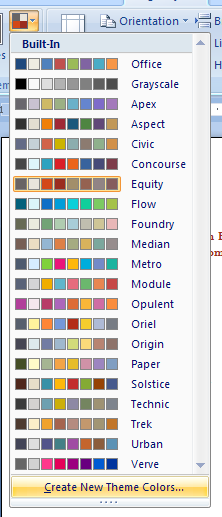 To create theme colors, click the Theme Colors button