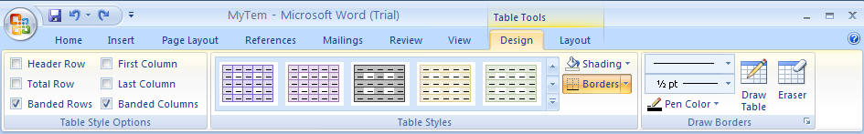 Click the Design tab under Table Tools.
