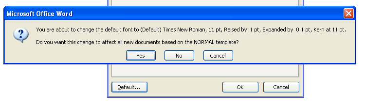 To make the new formatting options the default for all new Word documents, click Default, and then click Yes.