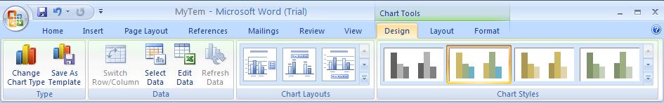 Click the Design tab under Chart Tools.