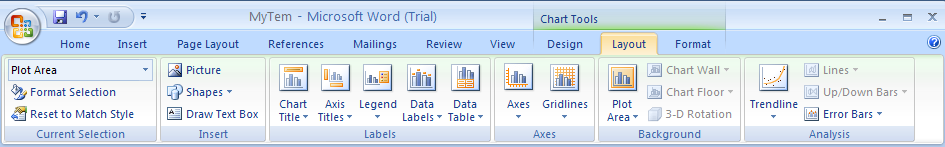 Click the Layout tab under Chart Tools.