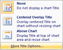 Click More Title Options to set custom chart title options.