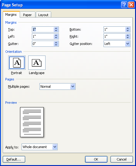 thesis page setup Helpful tips on formatting your thesis or dissertation margins to change margins, in word click on file - page setup - margins, and change the margins (see.