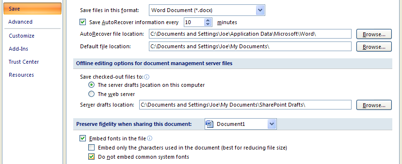 Select the document embedding options: