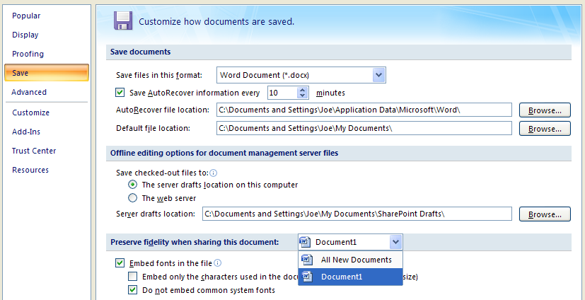 Then select the document you want to specify options.