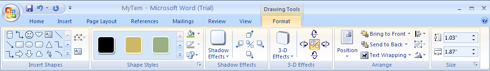 Click the Format tab under Drawing or Text Box Tools.
