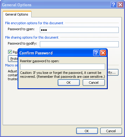Then type a new password, click OK, and then retype your password to change password
