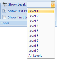 Then select the level you want to display.