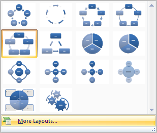 To view the entire list of diagram layouts, click More Layouts.