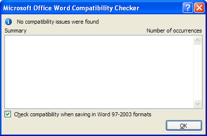 View the compatibility summary information.