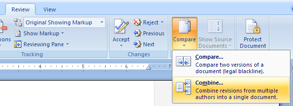 To merge documents, click the Compare button and then click Merge.