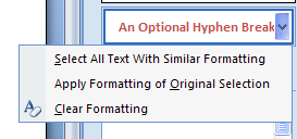 Select the second instance of formatting to compare.