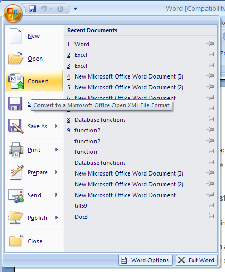 Converting templates from earlier versions to Word 2007