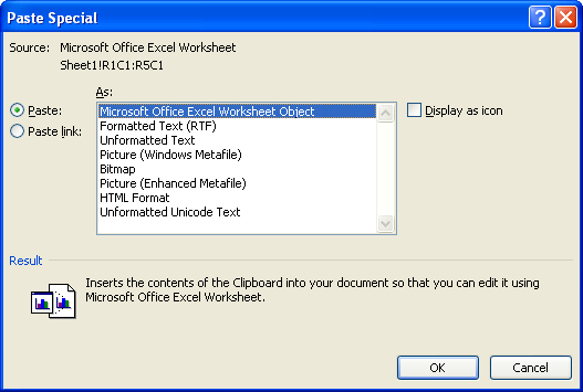 Then click Microsoft Office Excel Worksheet Object
