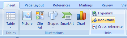 how to create bookmarks in ms word 2007