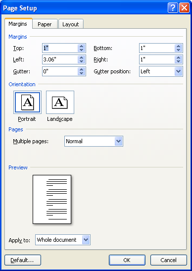 The Page Setup dialog box opens